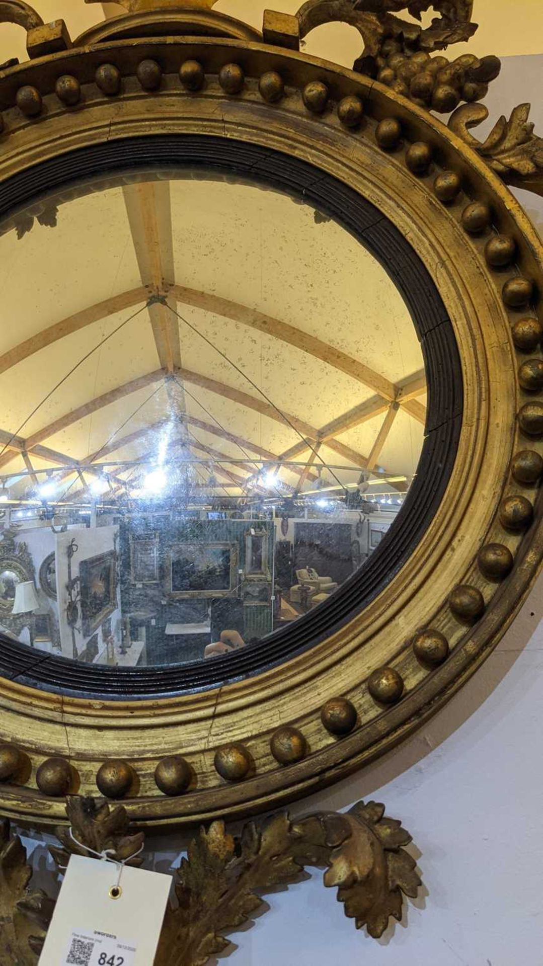 A Regency giltwood convex mirror, - Image 3 of 4