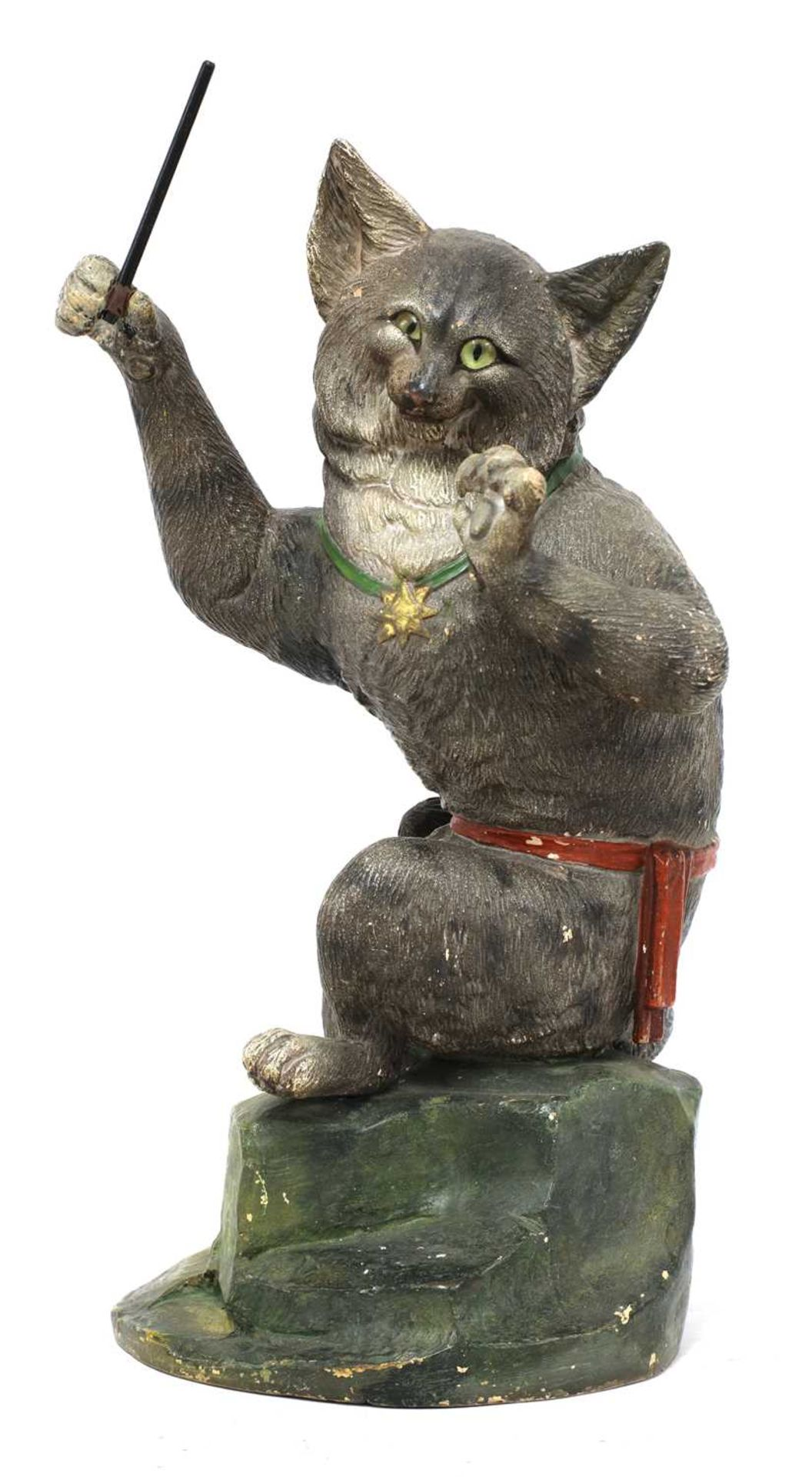 A French painted terracotta figure of a cat conductor,