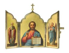 A silver gilt travelling icon of Christ Pantocrator and chosen saints,