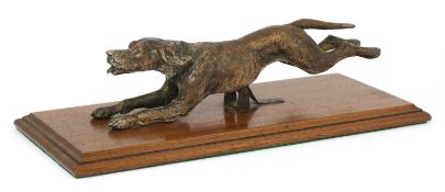 A cold-painted bronze foxhound letter clip,