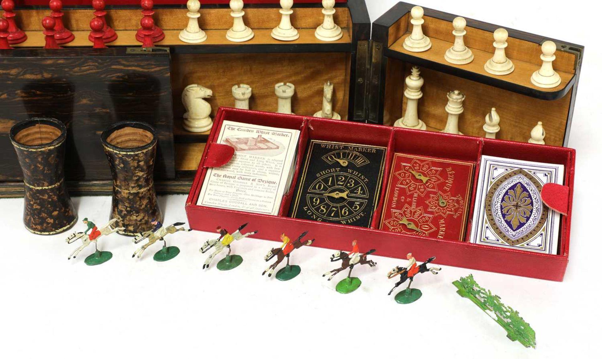 A Victorian coromandel cased games compendium, - Image 4 of 8