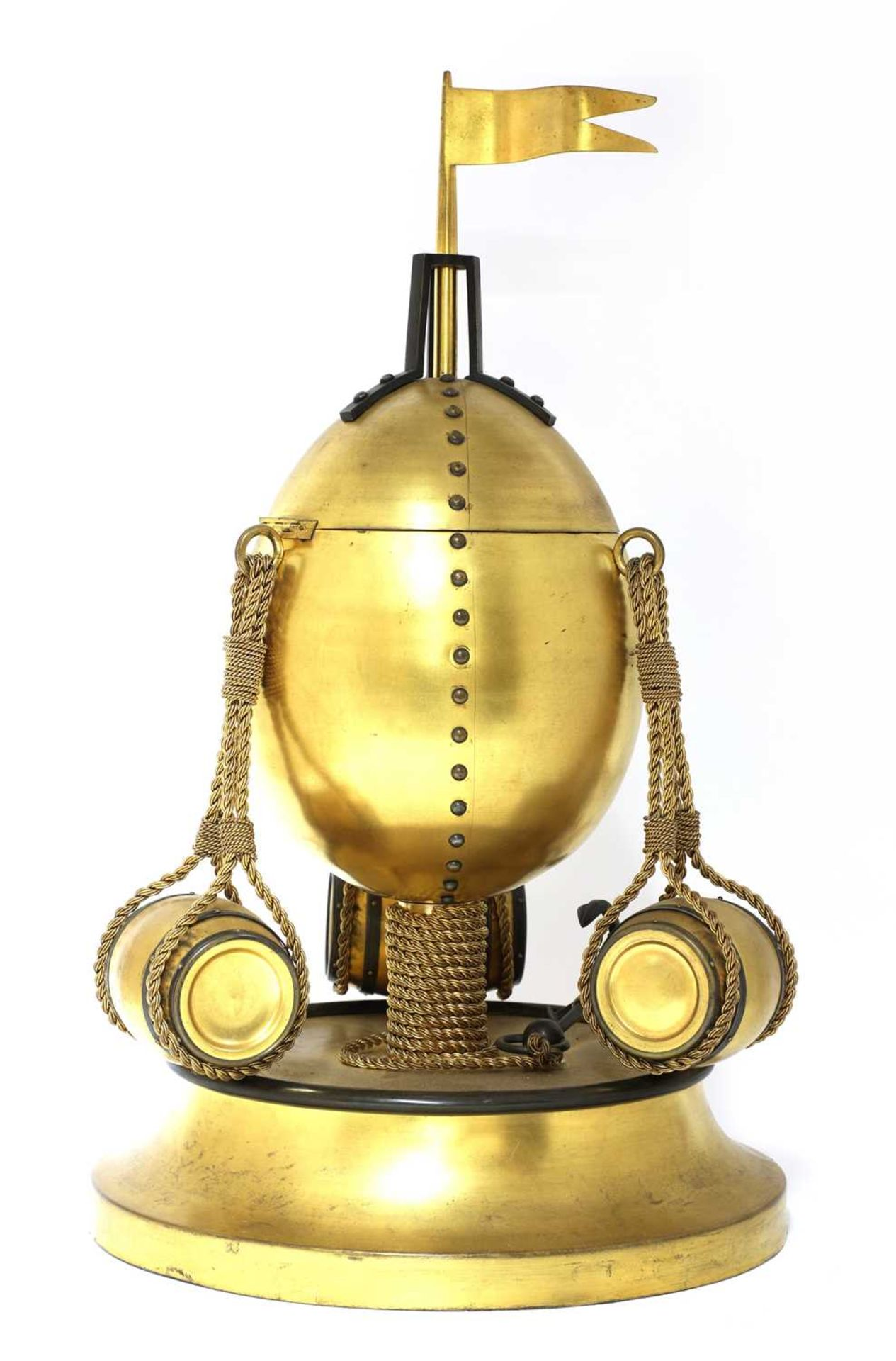 An extraordinary spun and cast brass cigar dispenser in the form of a hot air balloon, - Image 3 of 3