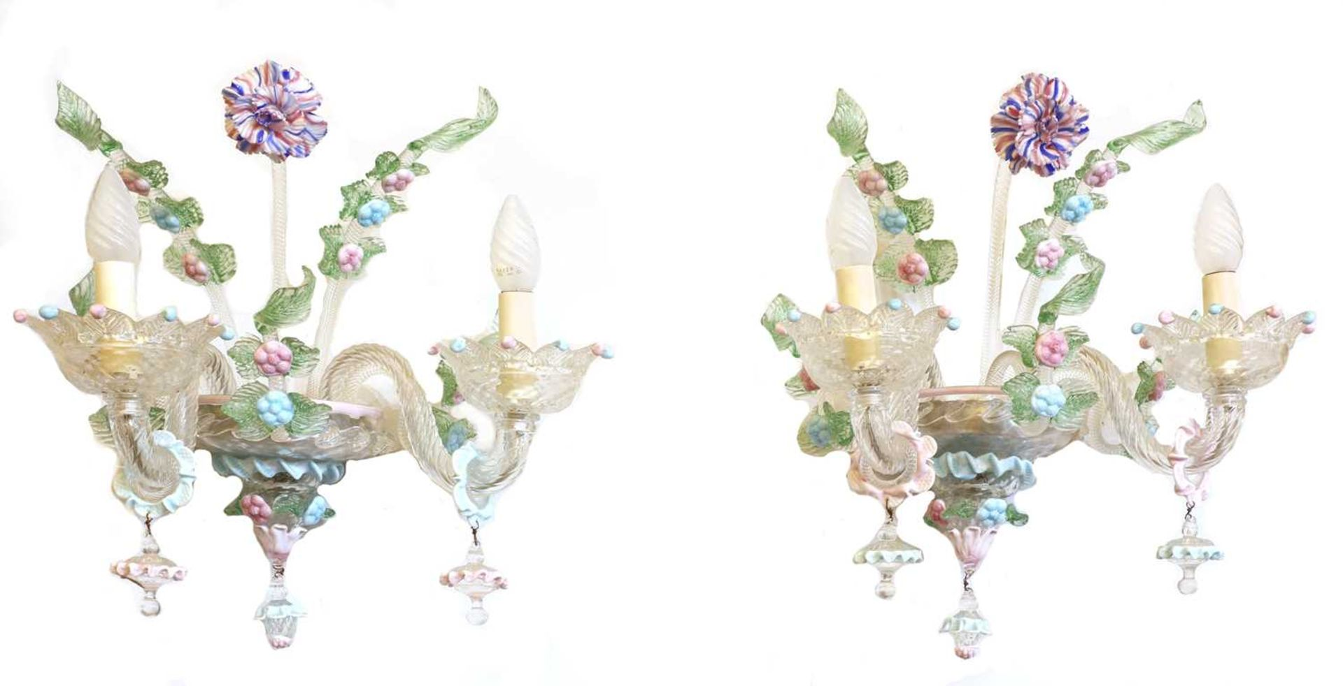A pair of Murano glass wall lights,