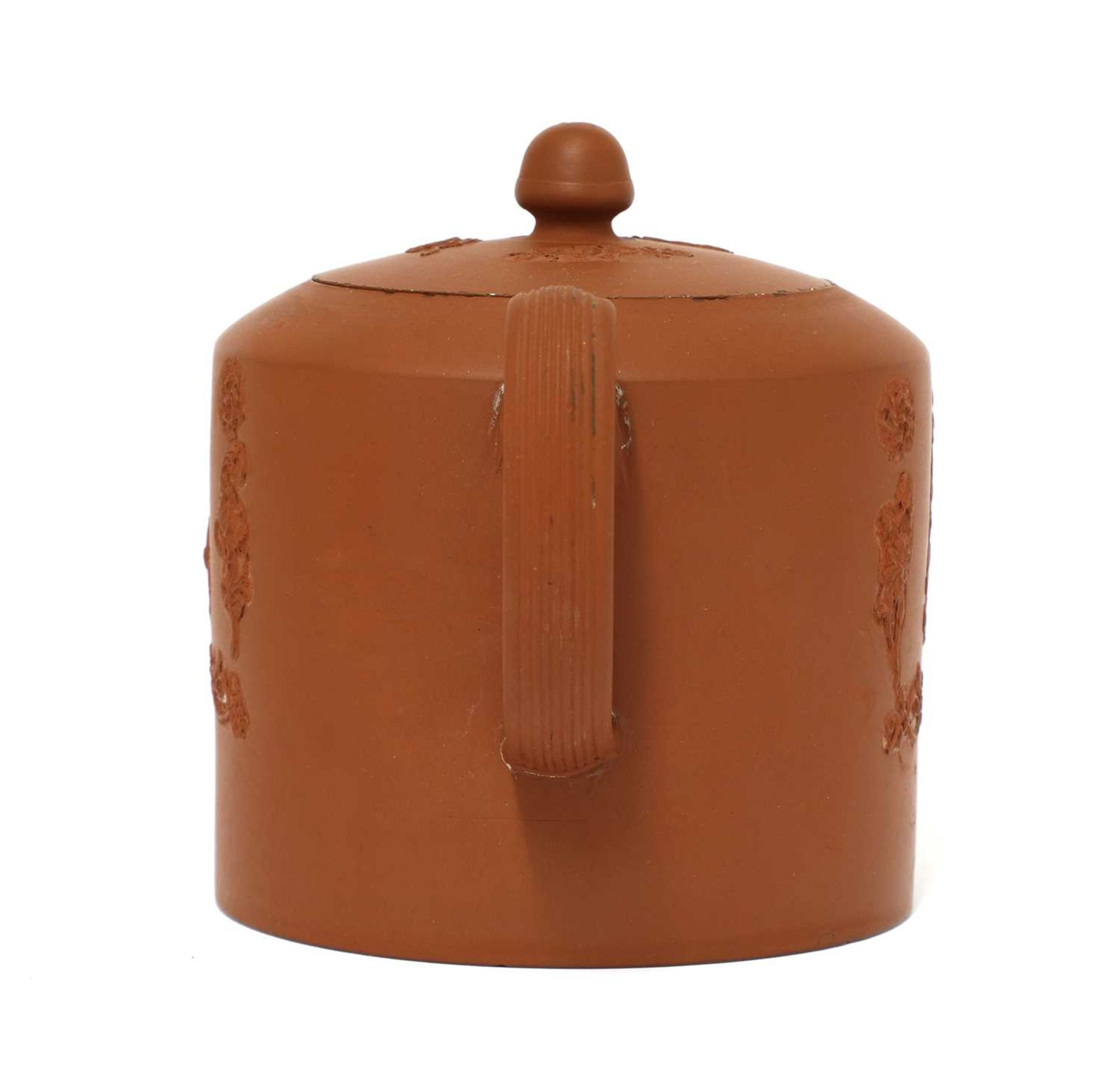 A Staffordshire redware cylindrical teapot and cover, - Image 3 of 4