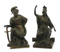 A pair of French grand tour bronze figures,