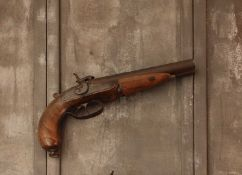 A 16 bore double-barrelled rifled pin-fire Westley Richards Howdah pistol,