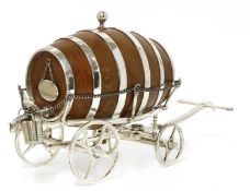 A good simulated oak and silver-plated spirit waggon,