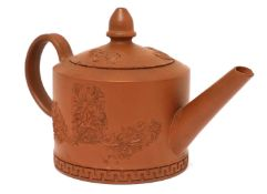 A Staffordshire redware small cylindrical teapot and cover,