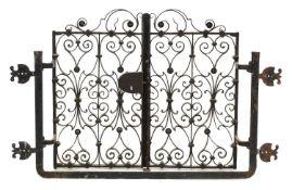 An ornate Italian iron window grille,