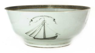 A large Chinese export porcelain punch bowl,