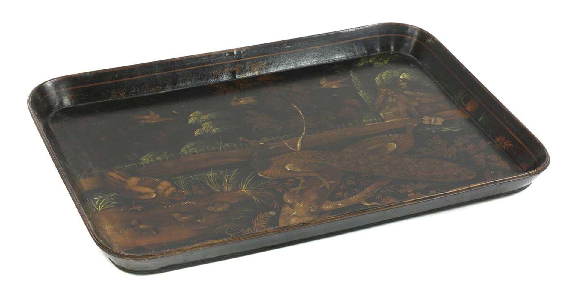 A Regency papier mâché lacquer tray, - Image 2 of 2