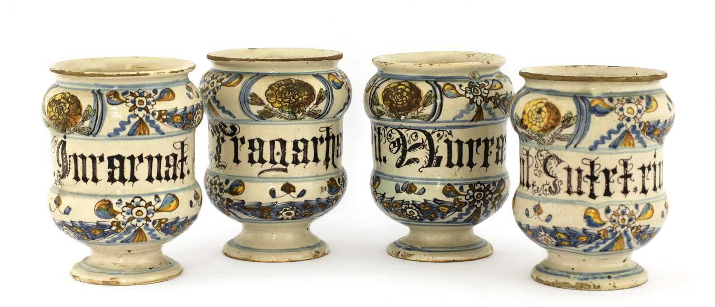 A set of four Italian majolica apothecary jars,