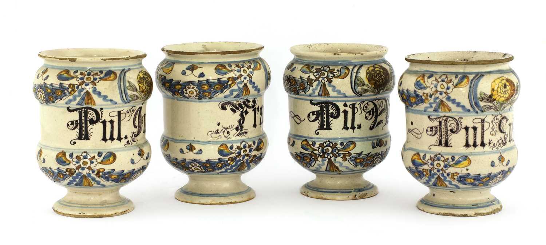 A set of four Italian majolica apothecary jars, - Image 3 of 4