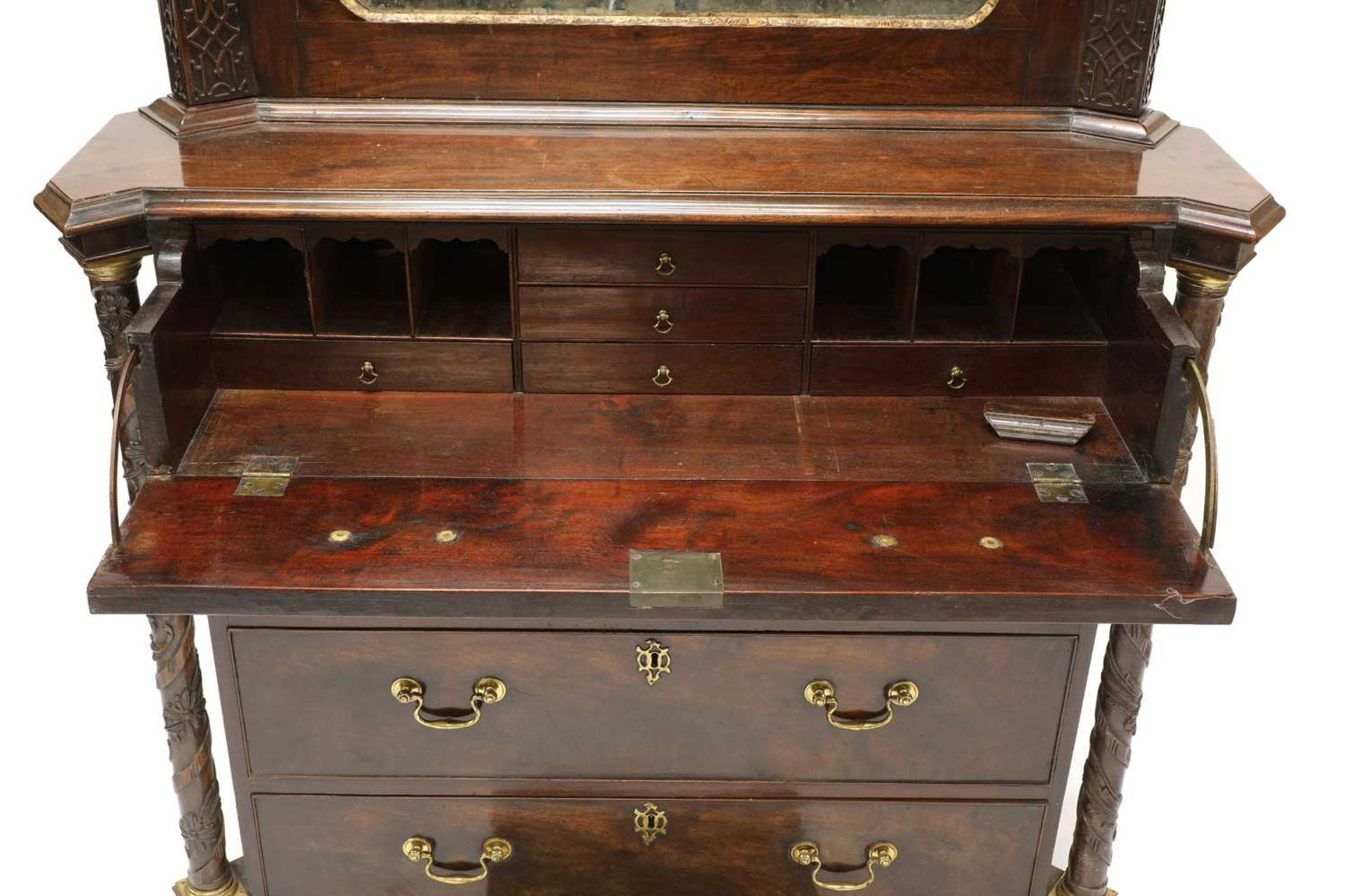 A Chippendale period mahogany secretaire bookcase, - Image 8 of 9