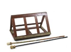 A mahogany and brass adjustable reading stand,