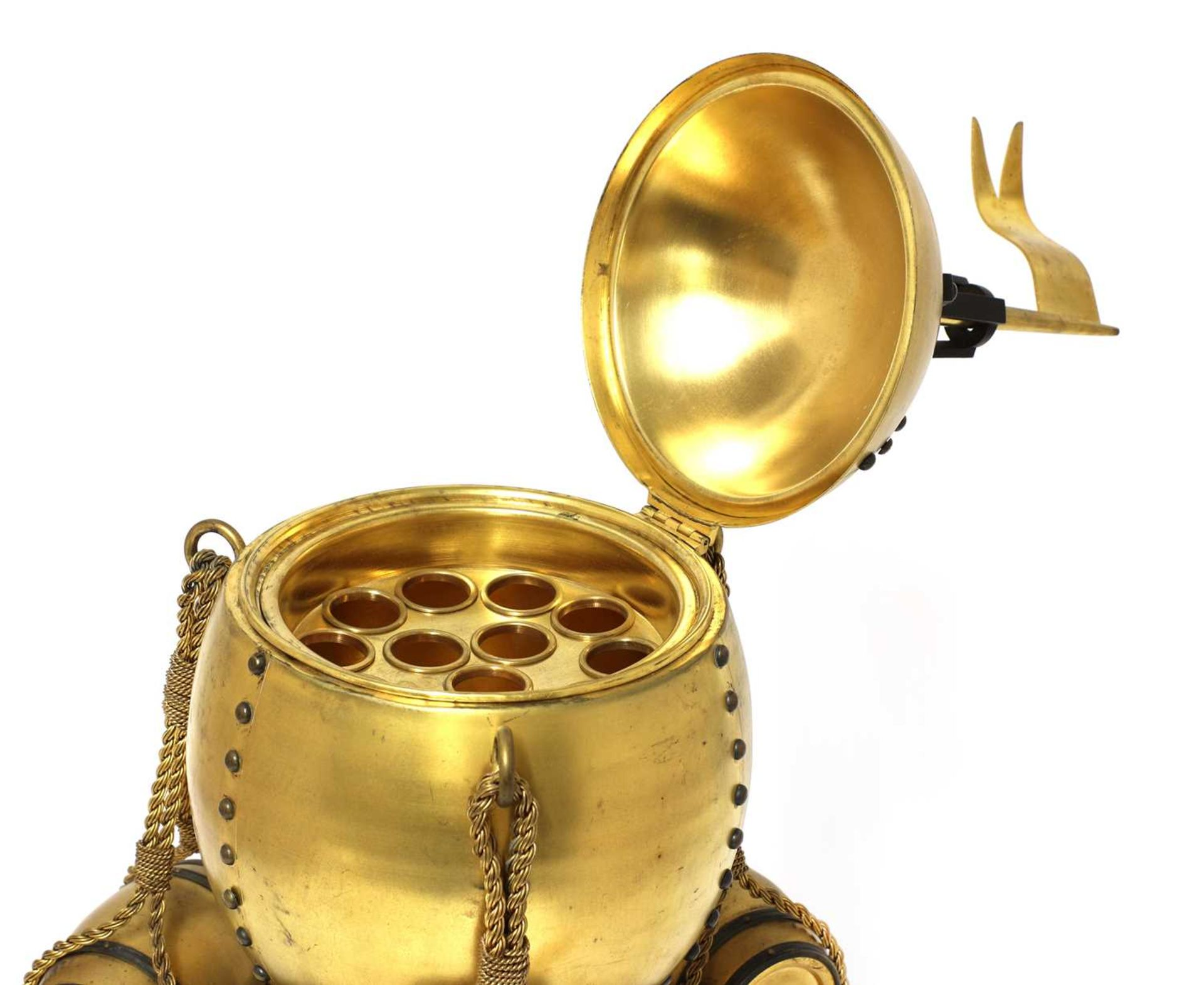An extraordinary spun and cast brass cigar dispenser in the form of a hot air balloon, - Image 2 of 3