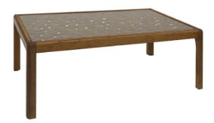 A stripped pine coffee table,