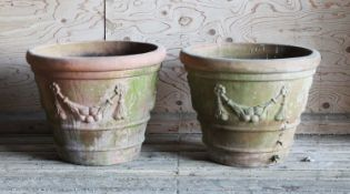 A pair of large Italian Terrace terracotta garden urns,