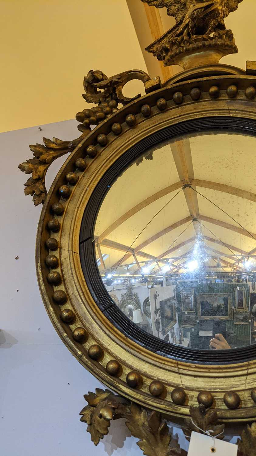 A Regency giltwood convex mirror, - Image 4 of 4