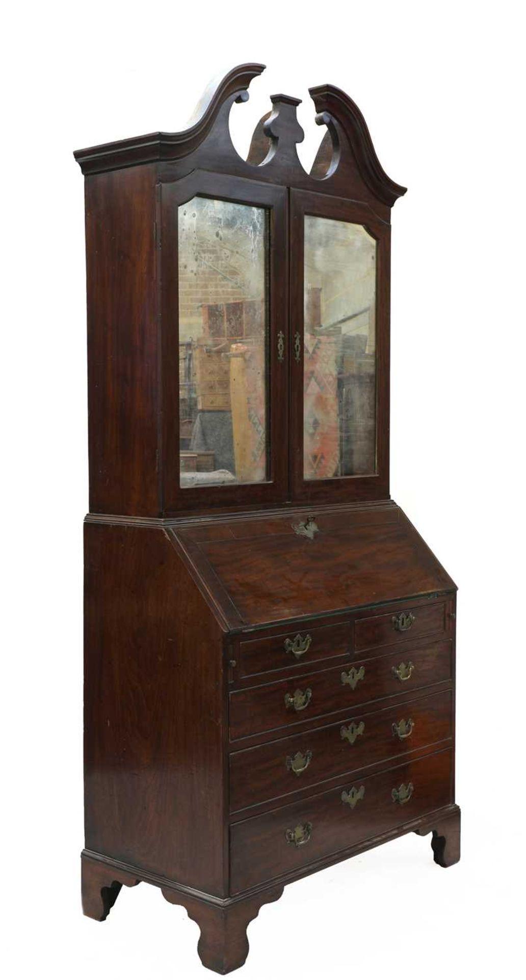 A George III mahogany bureau bookcase, - Image 2 of 6