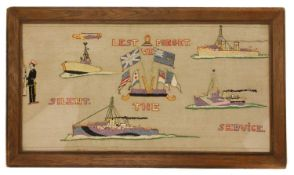 A pair of naval long stitch woolwork pictures,