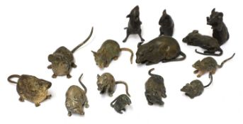 A collection of fourteen cold-painted bronze and lead mice and rats,