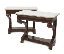 A pair of French Louis Philippe mahogany console tables,
