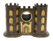 A Tunbridgeware white wood watch stand,