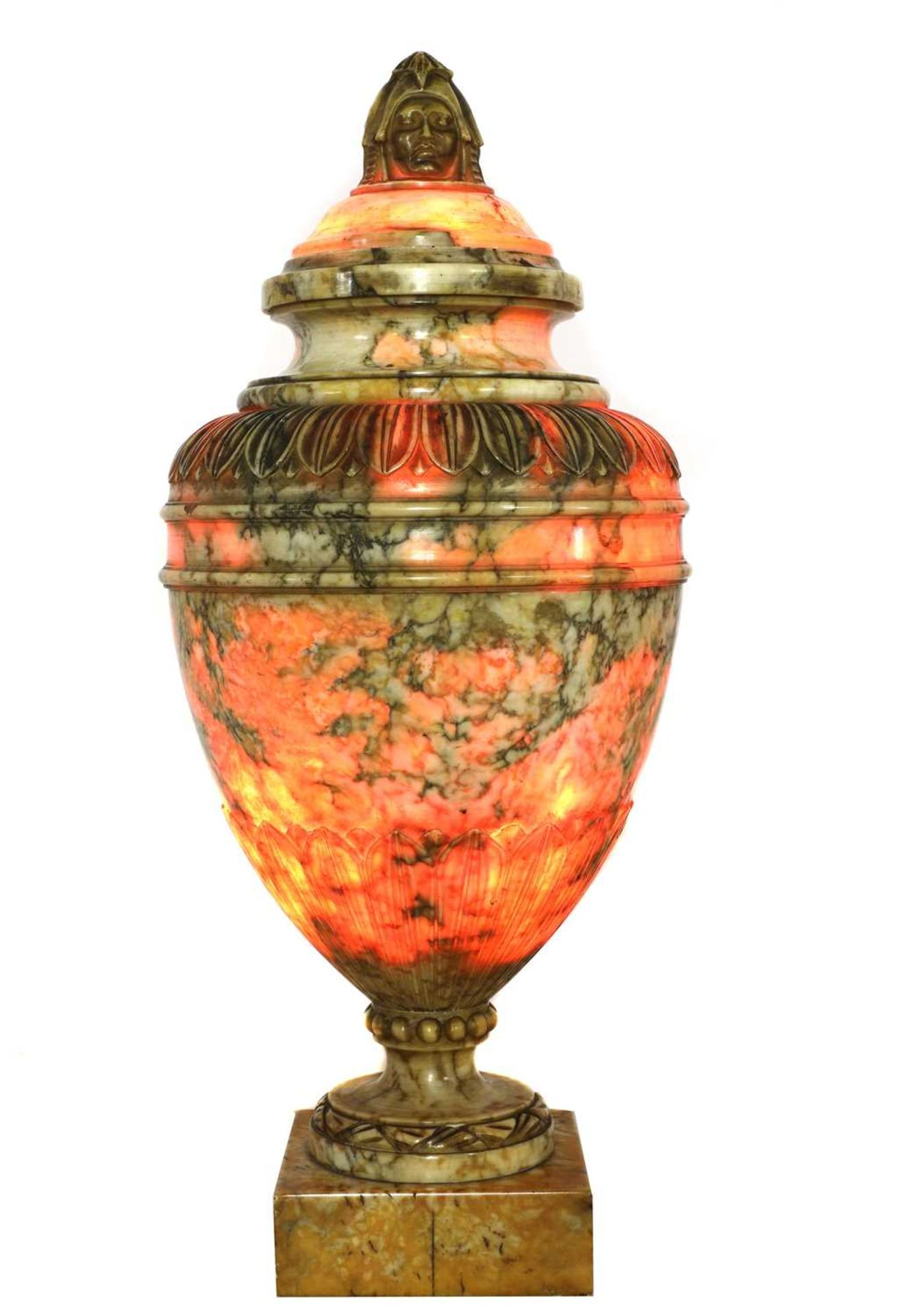 A pair of alabaster urns and covers - Image 2 of 6