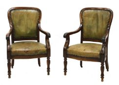 A pair of French Louis Philippe mahogany library armchairs