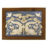 An Italian majolica blue and white panel,