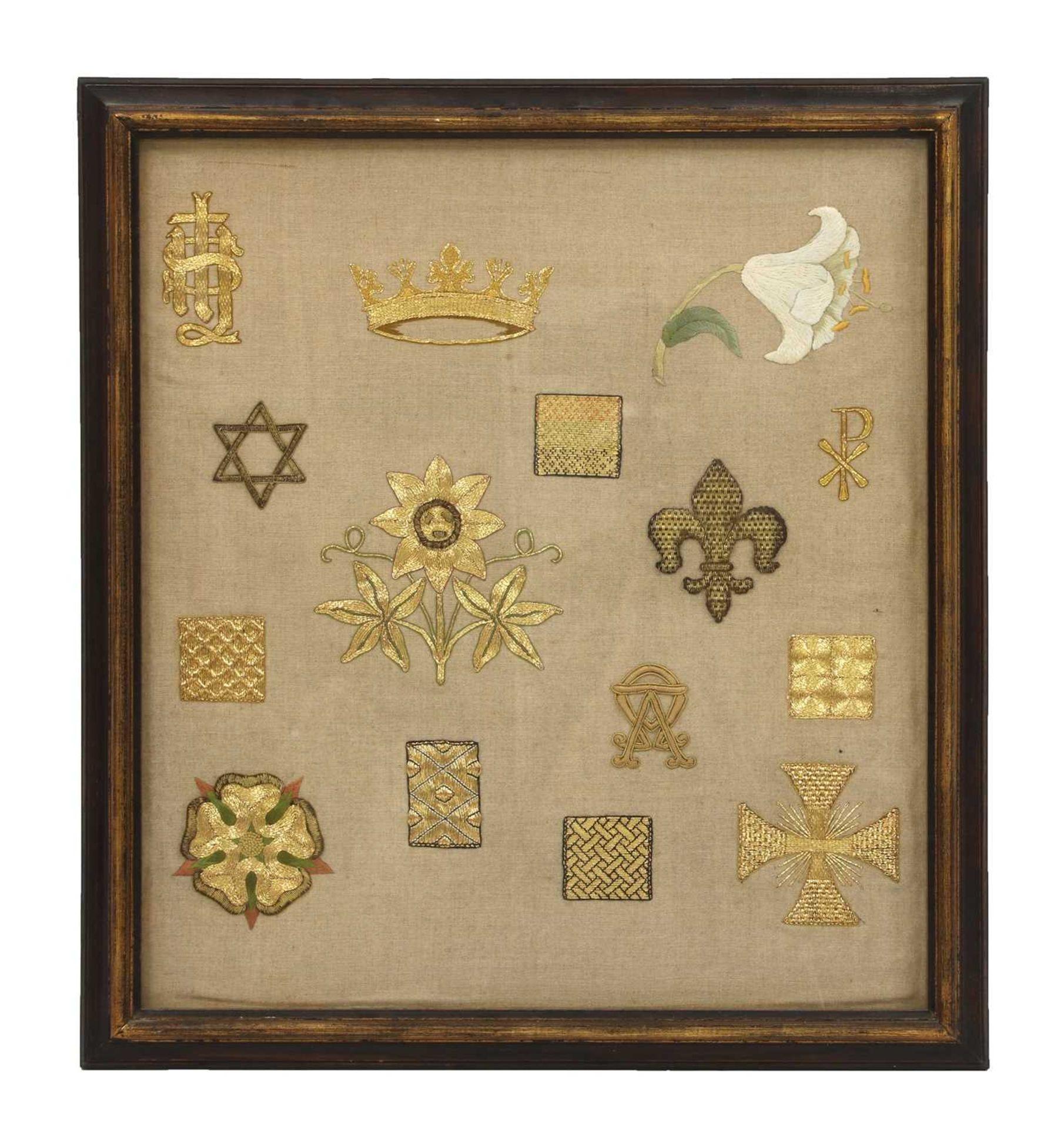 A framed goldwork embroidery sampler,