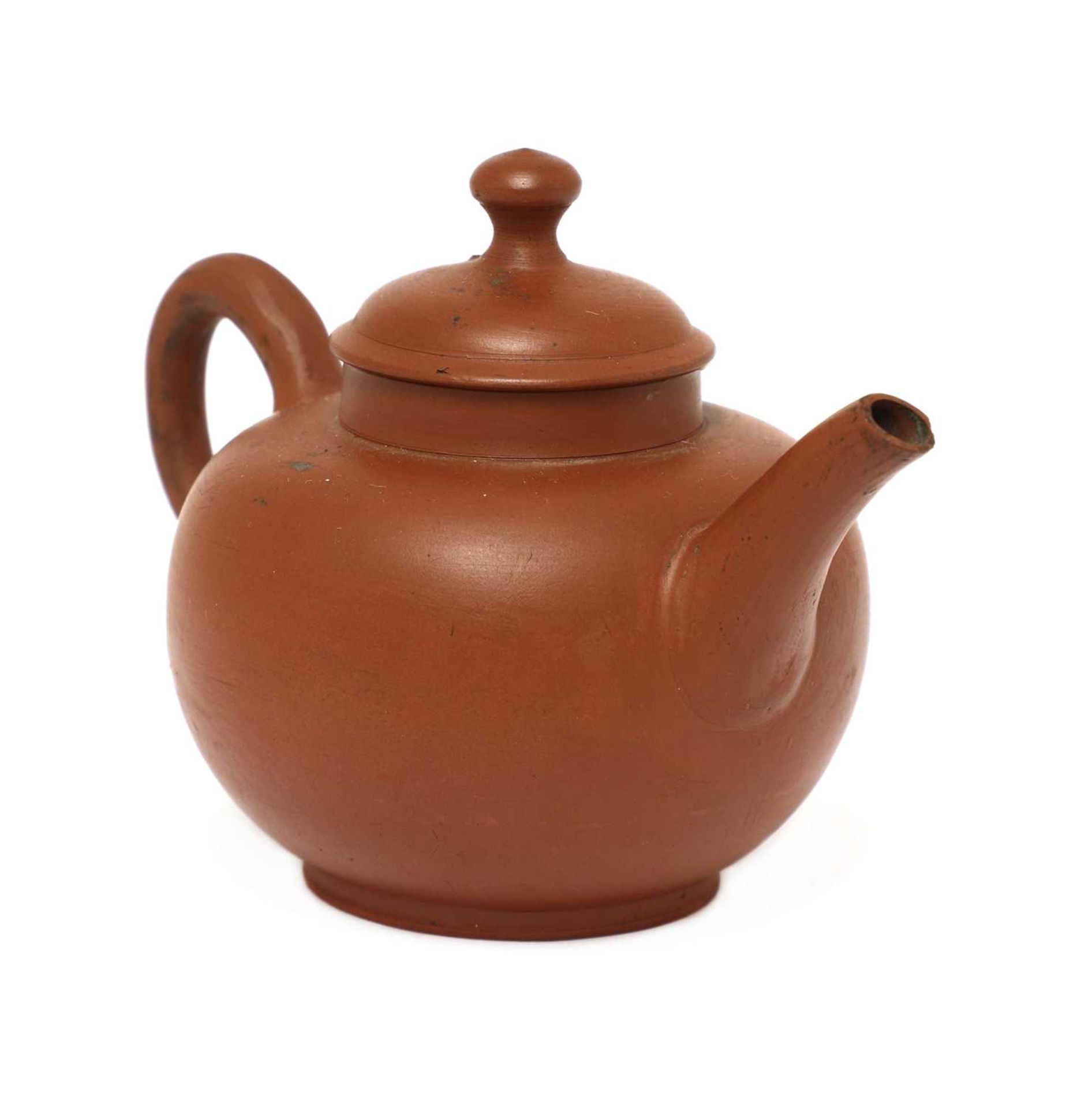 An unusual Staffordshire redware miniature globular teapot and cover, - Image 2 of 4