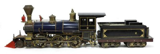 A 3½in gauge O S Porter 2-6-0 live steam coal fired Mogul locomotive and tender,