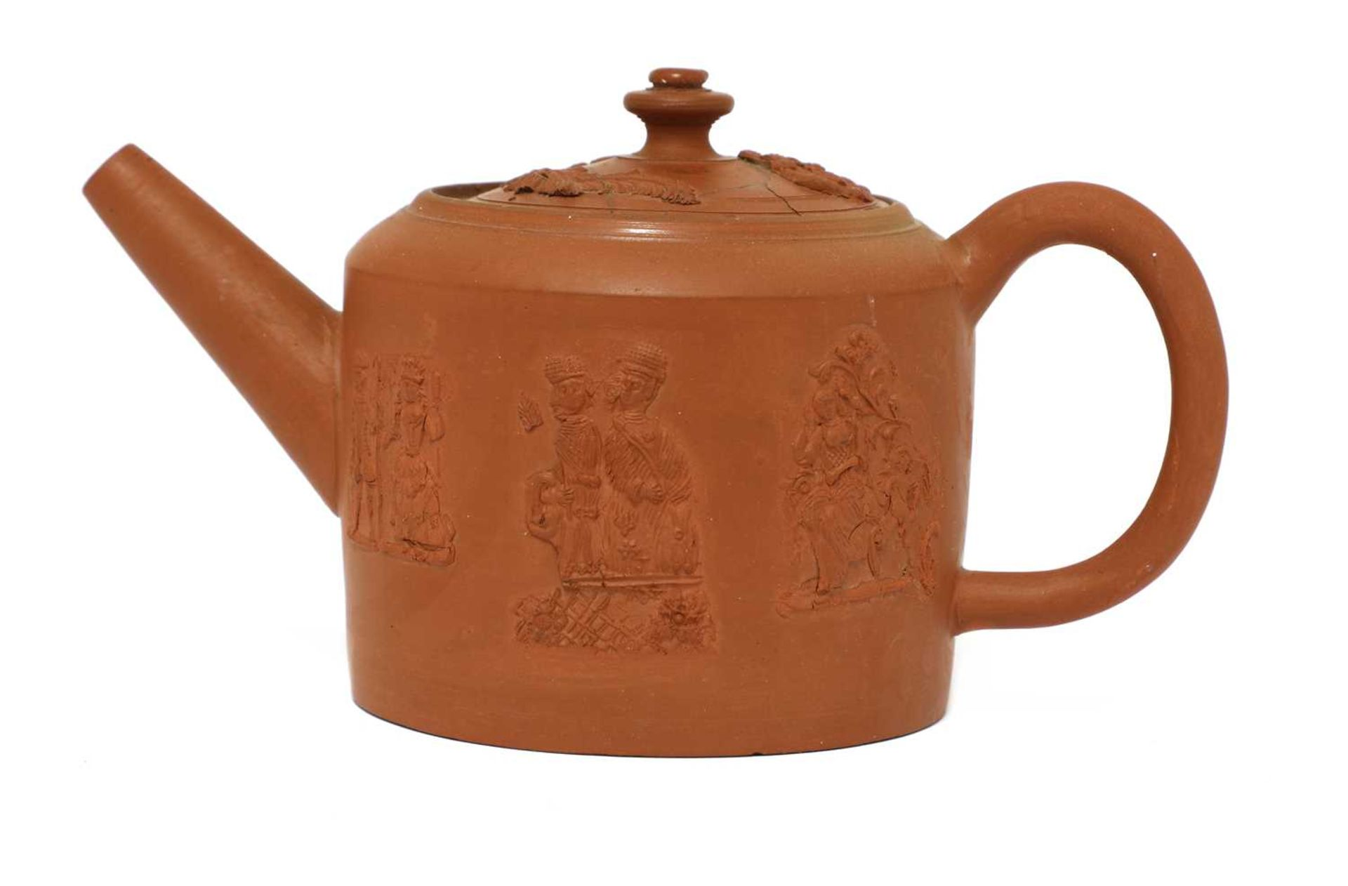 A Staffordshire redware small cylindrical teapot and cover, - Image 3 of 4