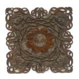 An Art Nouveau mahogany table top,
