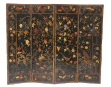 A leather and painted four-fold screen,