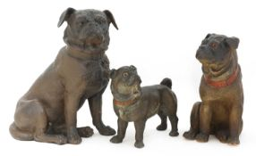 A German terracotta figure of a seated pug,