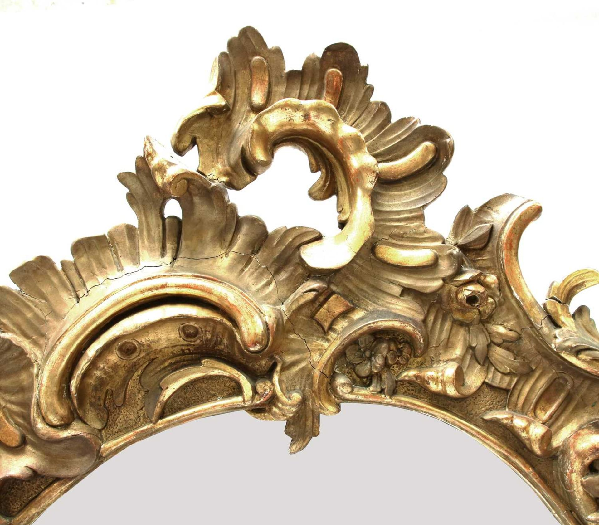 A north European giltwood and gilt composition wall mirror, - Image 2 of 3