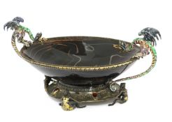 An Austro-Hungarian agate, silver gilt and enamel-mounted bowl