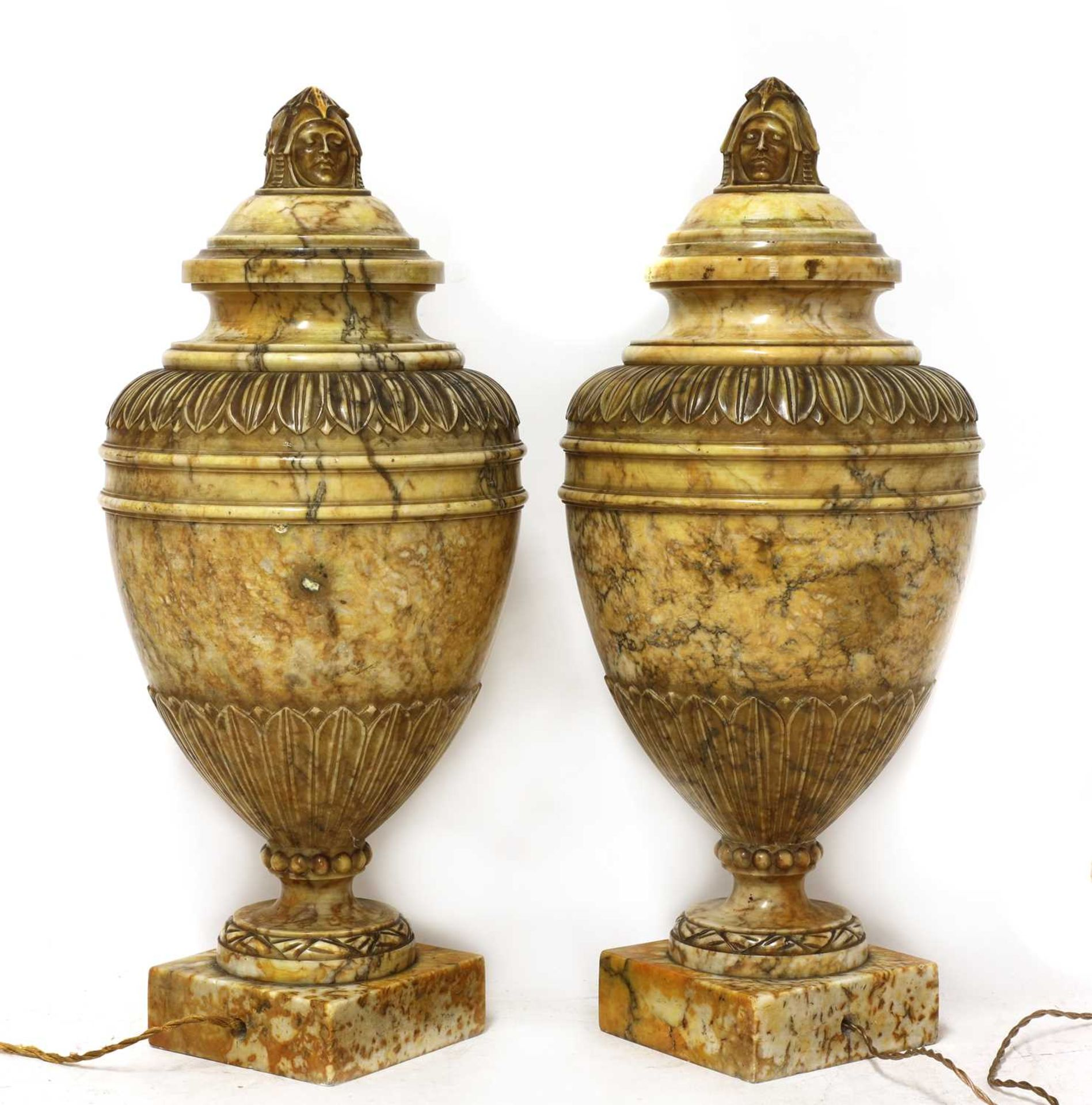 A pair of alabaster urns and covers - Image 6 of 6