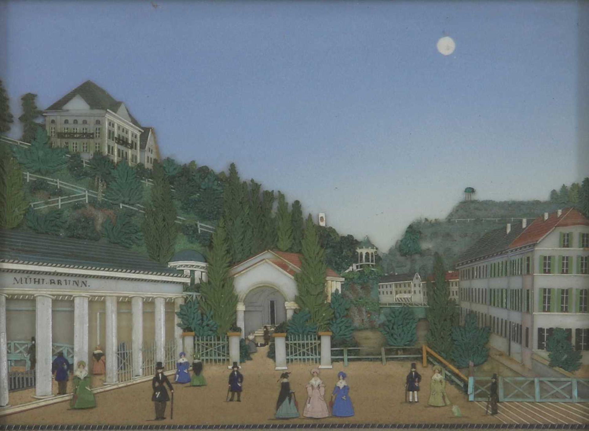 An unusual coloured glass collage titled 'Karlsbad', - Image 2 of 6
