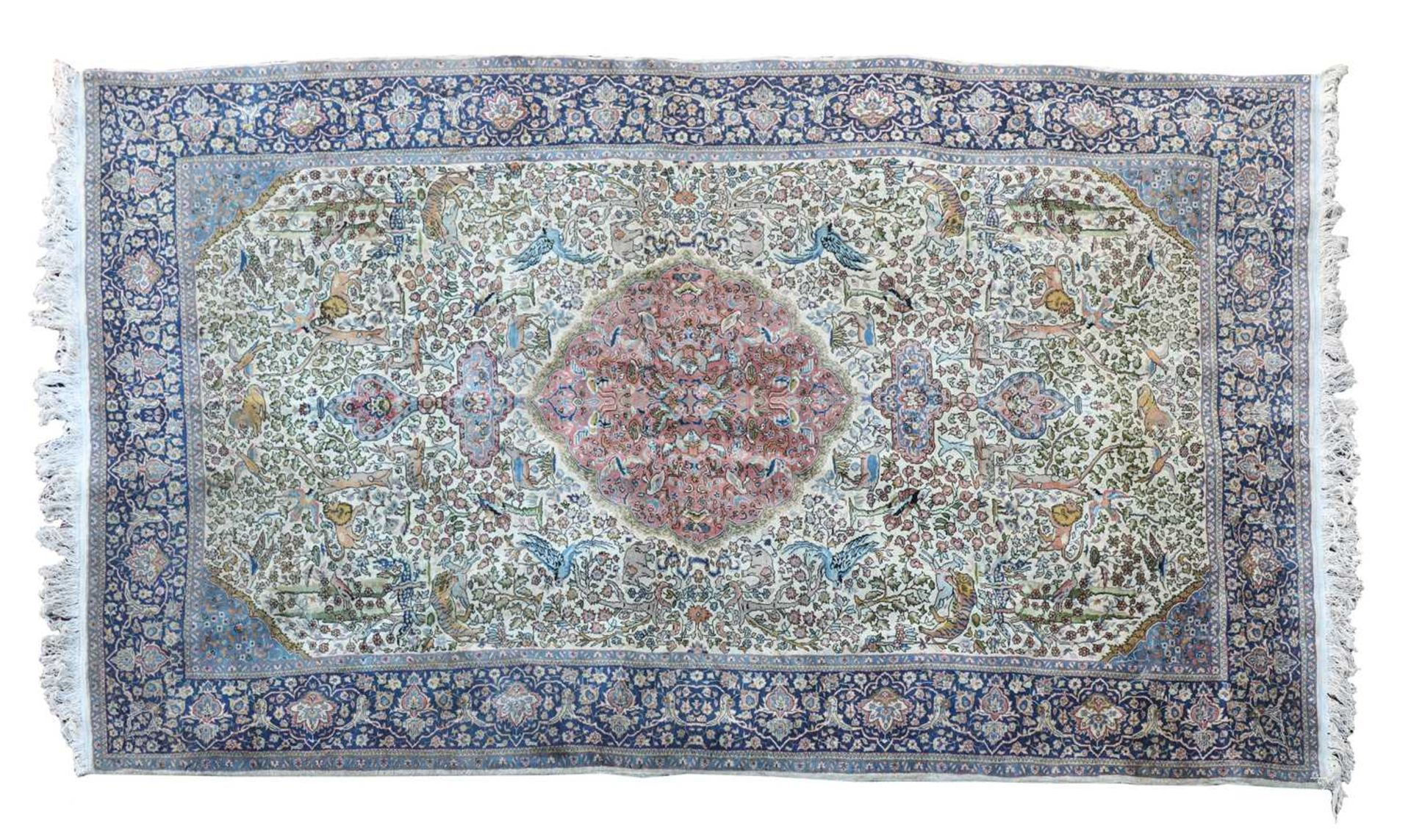 A hand-knotted Isfahan hunting rug,