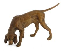 A cold-painted bronze pointer,