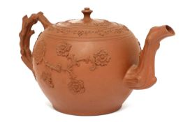 A Staffordshire redware large globular teapot and cover,