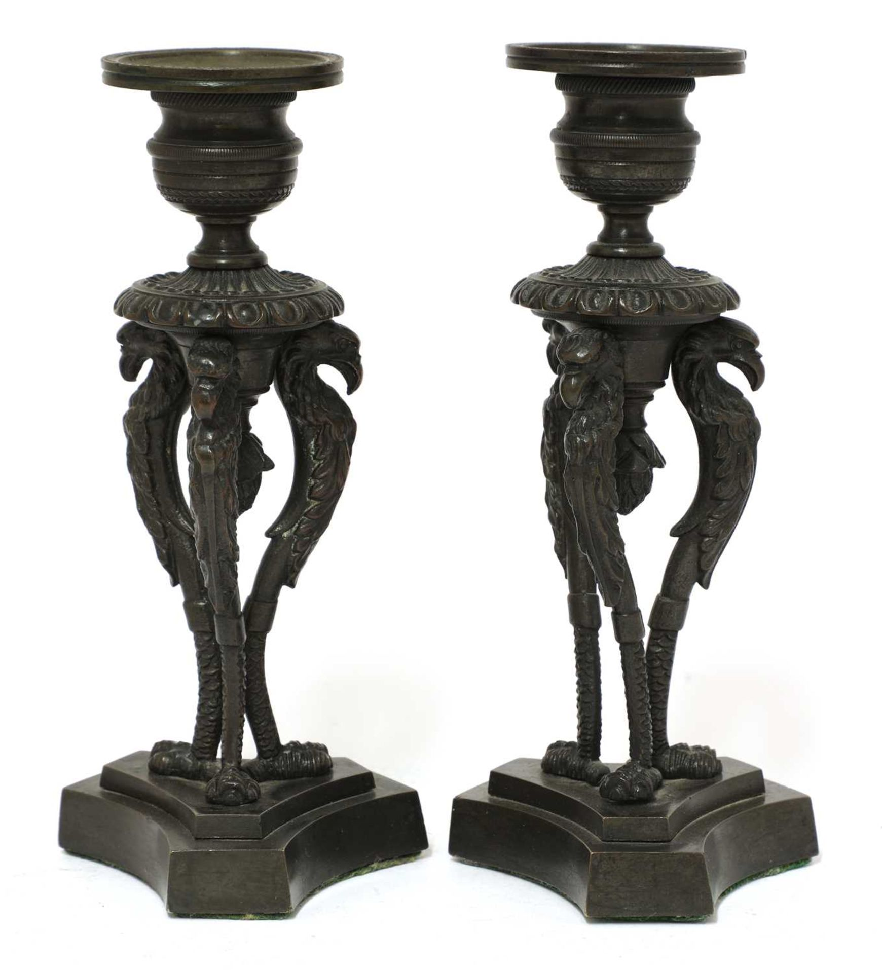 A pair of bronze candlesticks, - Image 2 of 3