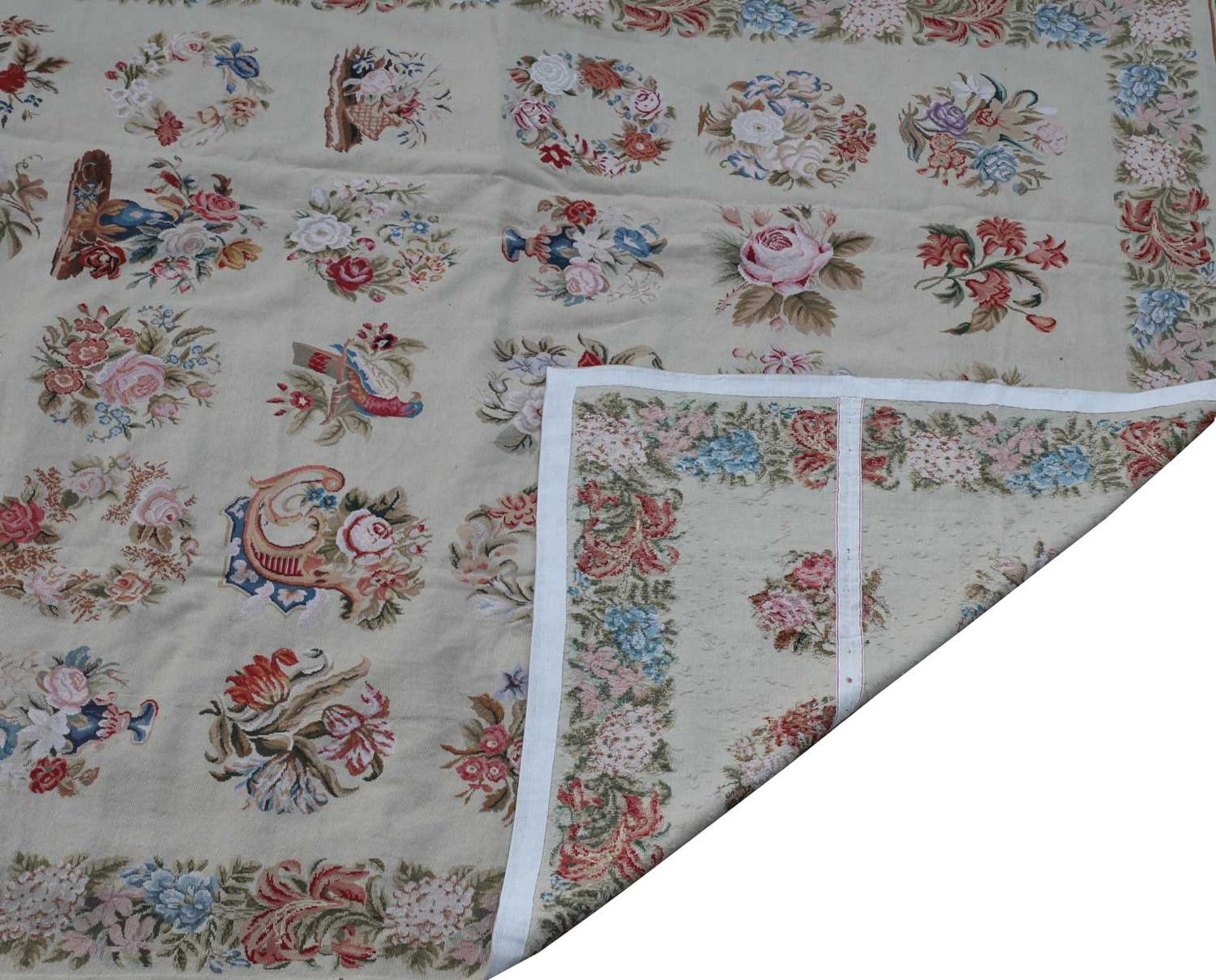 An Aubusson-style finely handwoven needlepoint carpet, - Image 2 of 2
