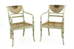 A pair of painted neoclassical salon chairs,