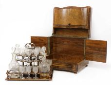 A Victorian burr walnut tabletop drinks cabinet,