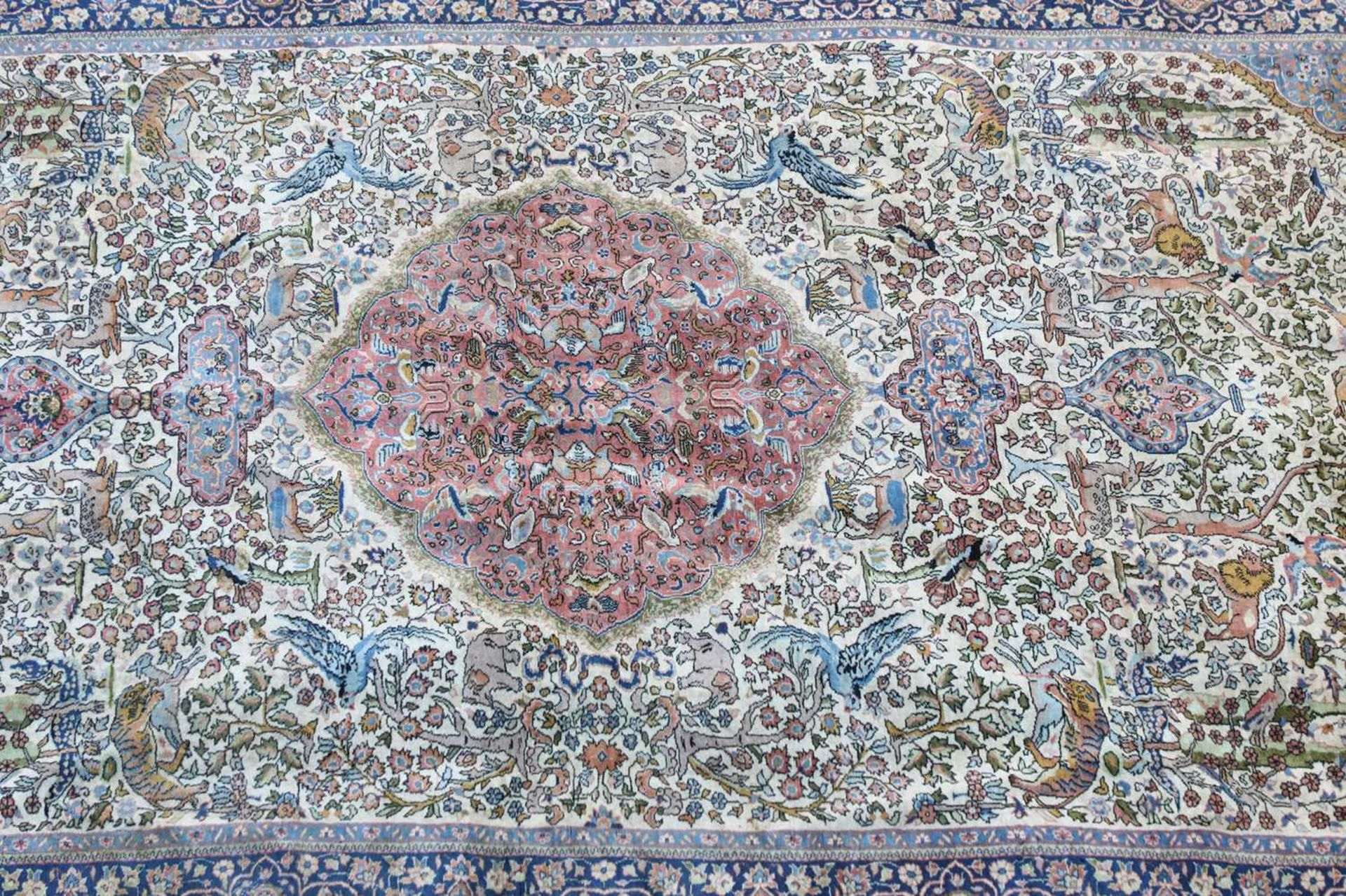 A hand-knotted Isfahan hunting rug, - Image 2 of 4